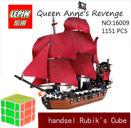 DHL Lepin 16009 1151pcs Queen Anne's revenge Pirates of the Caribbean Building Blocks Set Bricks Compatible 4195 brick building 1151pcs 16009 compatible movies 4195 ship pirates of the caribbean queen anne s revenge set building blocks toys for kids
