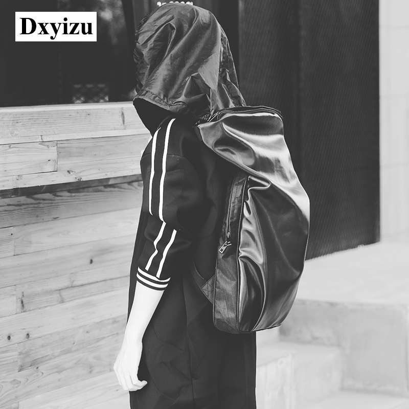 New Fashion Men's Backpack Pu Leather Rain Hat Backpacks Male School Bags Laptop Backpack Woman Black Waterproof Travel Backpack