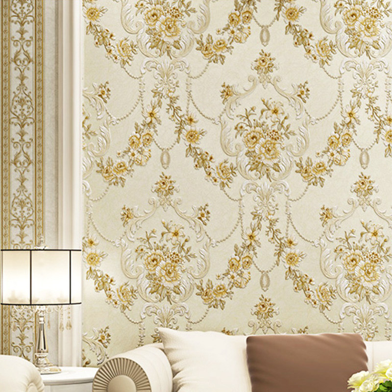 European Style Pastoral Wallpaper 3D Stereo Floral Non-Woven Wall Paper For Living Room TV Sofa Bedroom Home Decor Wall Covering