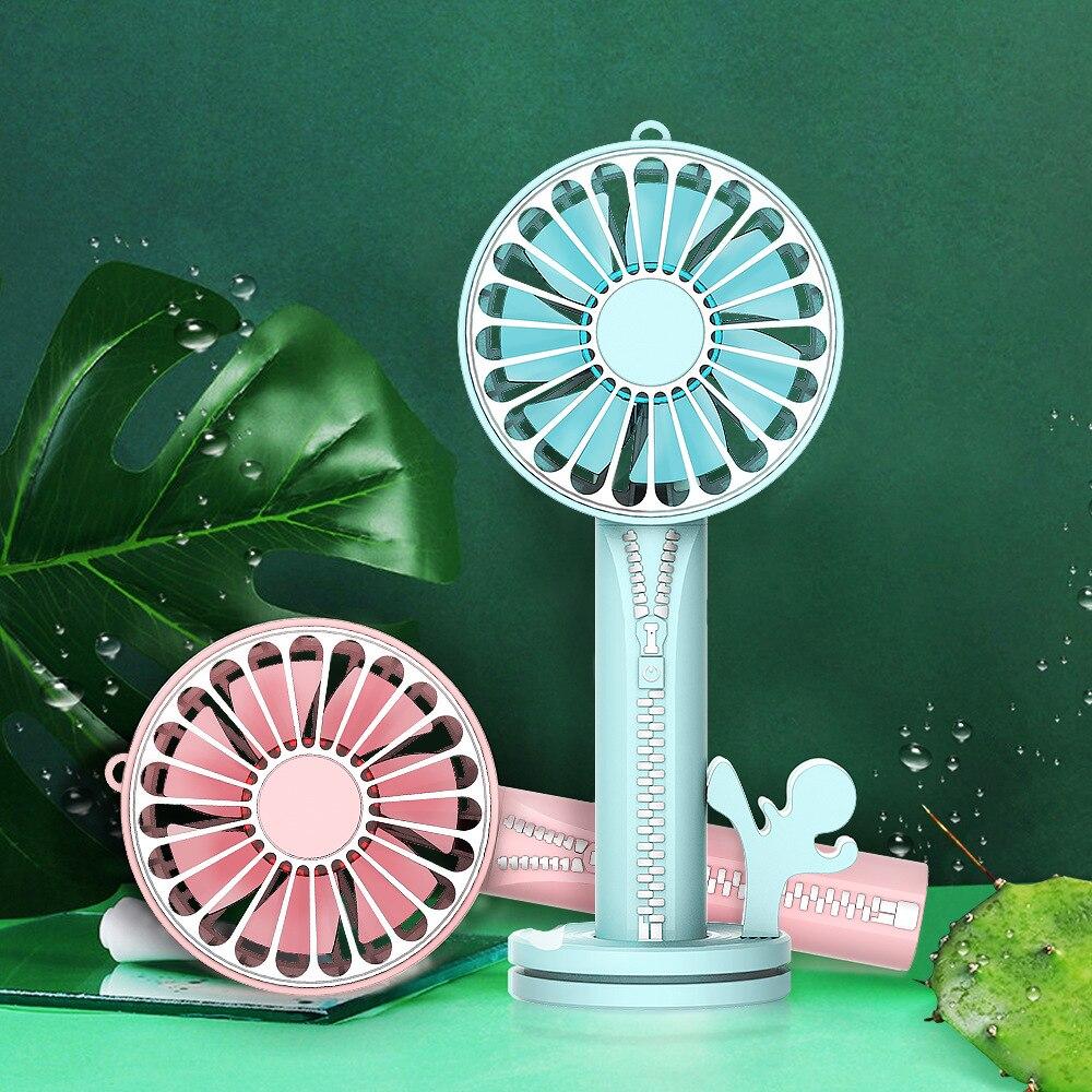 Rechargeable Mini Fan Usb Zipper Fan Handheld Small Desk Desktop Cooling Fan Portable Cooler Fan with Phone Holder &Mini Mirror