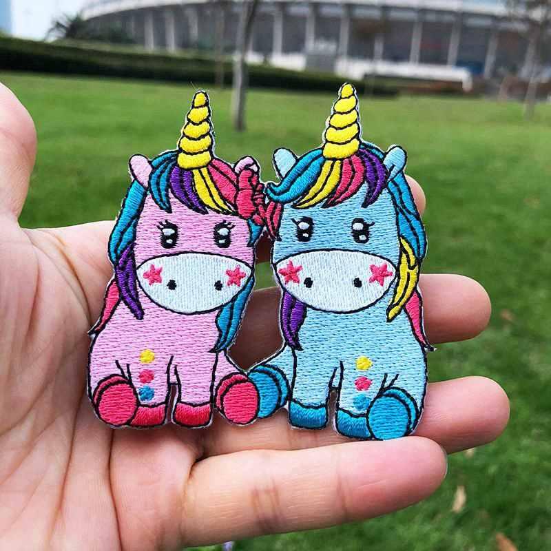 Prajna desenhos animados vários estilos unicórnio remendo 3d diy bordado remendos de engomar para pano bebê pequenos adesivos animais acessório h