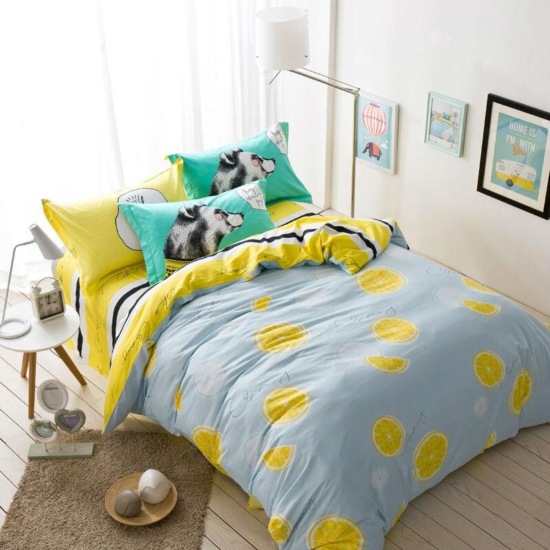 fresh orange fruit light gray linens 4pcs bedding sets high end cotton size duvet cover set sheets sets - Queen Size Duvet Cover