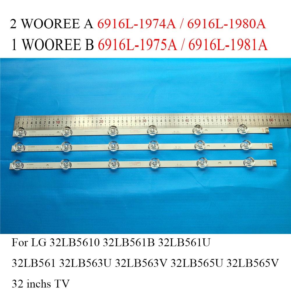 LED Backlight Strip For LG 32LF5610 32LB561B 32LB563U 32LB565U WOOREE A B LED Light Bars For LG 32 inchs TV Screen LED Strips