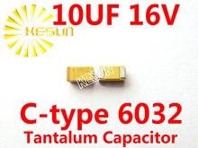 10 МКФ 16 В C тип 2312 6032 106C SMD Тантал Конденсатор Разъем TAJC106K016RNJ x500PCS