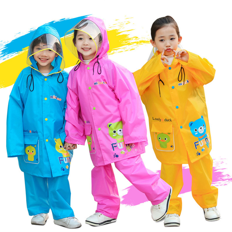 Nylon Children\'S Raincoat For Cartoon Impermeable Rainproof Poncho Fashion Cute Kids Waterproof Hooded Raincoat Rain Pants Suit