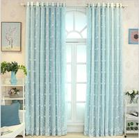 European Style Blue Color Blackout Curtains For Bedroom Tulle Curtains Sets In The Nursery Drapery Window