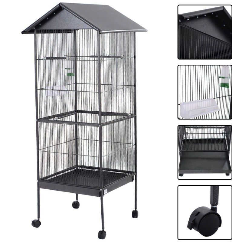 61'' Large Parrot Bird Cage Play Top Pet Metal Cockatiel Macaw Cockatoo Crate House Bird Supplies