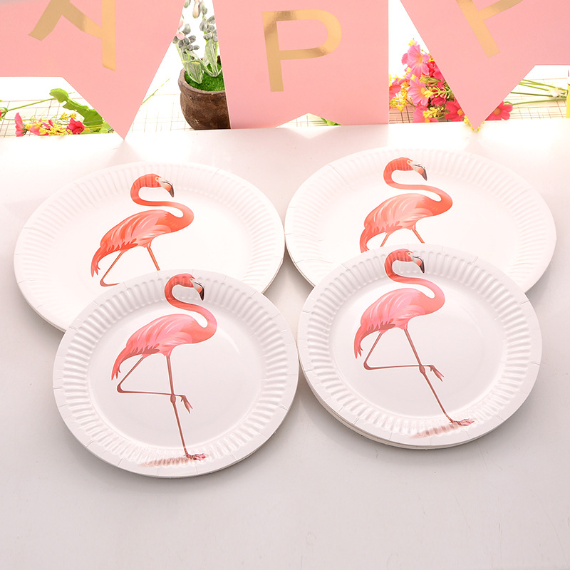10 Pcs Unicorn Flamingo Party Diy Decorations Baby Shower Paper Cups Plates Disposable Tableware Wedding Birthday Decorationsr,0