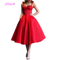 Elegant Red Short Prom Dresses Women Sweetheart Straps Satin Cocktail Dress Knee Length A Line Robe De Cocktail 2019 Prom Gowns