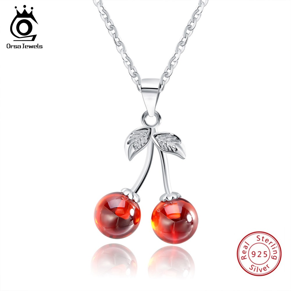 ORSA JEWELS 925 Sterling Silver Röd Natursten Körsbär Hängsmycke Halsband för Kvinnor Äkta Silver Smycken Halsband Present SN03