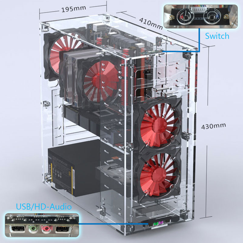 2018 Newest Desktops Acrylic All Transparent Vertical Micro/ATX Computer Cases Towers Plexiglass USB3.0/ Audio Hands-on assembly 1