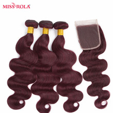 Miss Rola Hair Pre-colord Malaysian Body Wave Hair Weaving 3 Bundles With Closure #99J Color 100% Human Non-Remy Hair Extension