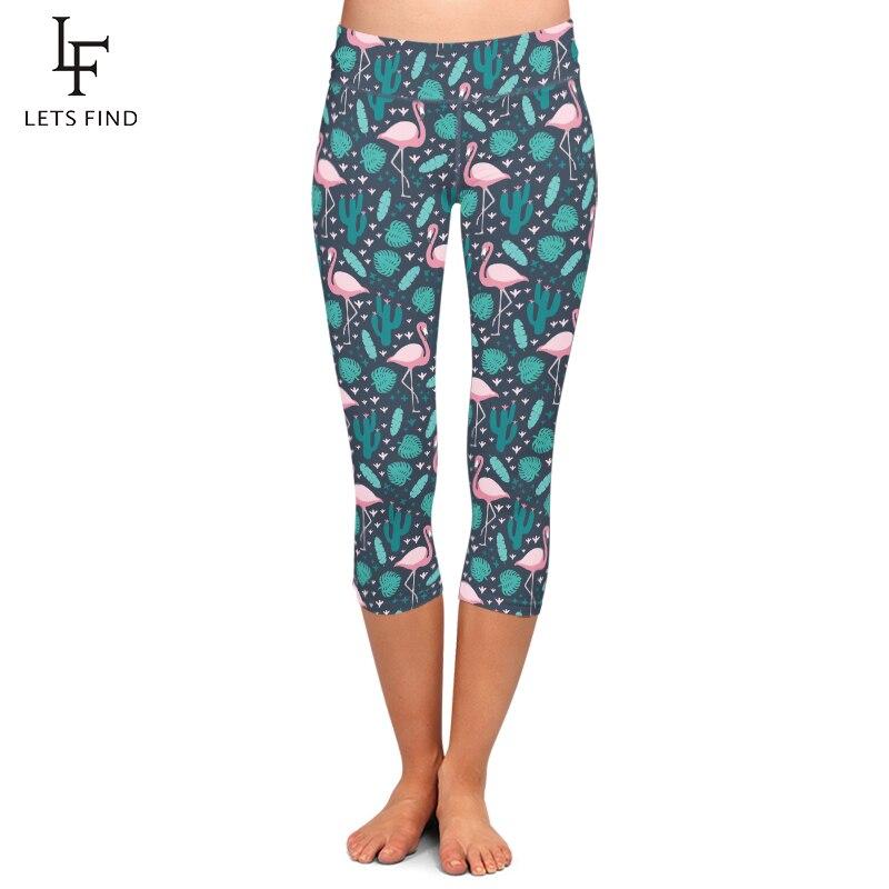 LETSFIND Summer Fashion Women Capri Leggings Flamingos and Plant Printing Mid-Calf 3/4 High Waist Plus Size Casual Leggings