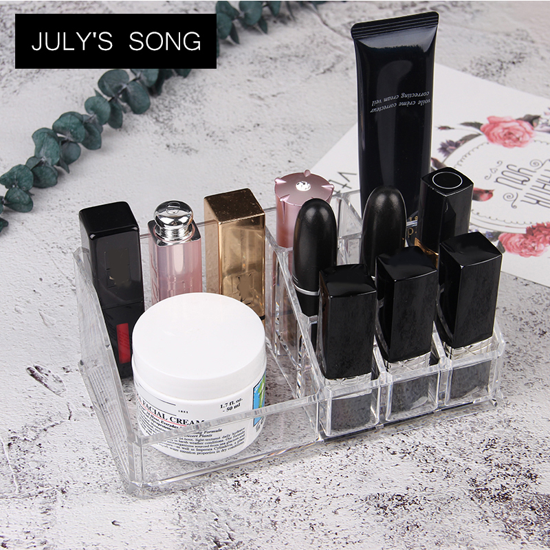 JULYS SONG 9 Lipstick Holder Display Makeup Organizer Office Organizer Box Desk Bathroom Cosmetic Plastic Storage Box Gift