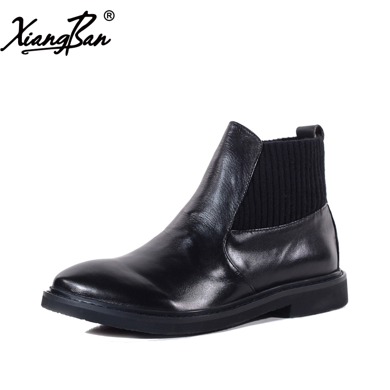 Xiangban Autumn Winter Shoes Women Booties Black Genuine Leather Chelsea Boots Women Flat Ankle Boots women martin boots 2017 autumn winter punk style shoes female genuine leather rivet retro black buckle motorcycle ankle booties
