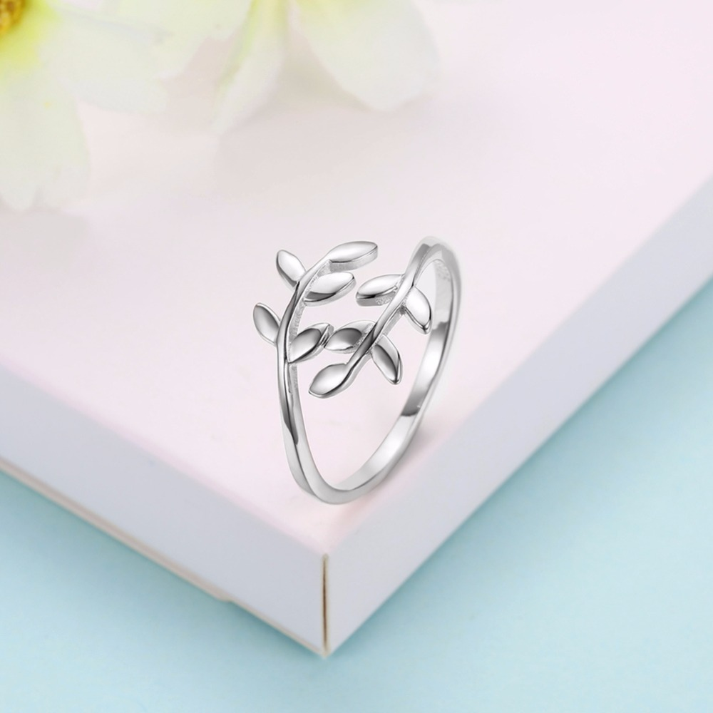 925 Sterling Silver Charm Olive Tree Branch Leaves Open Ring for