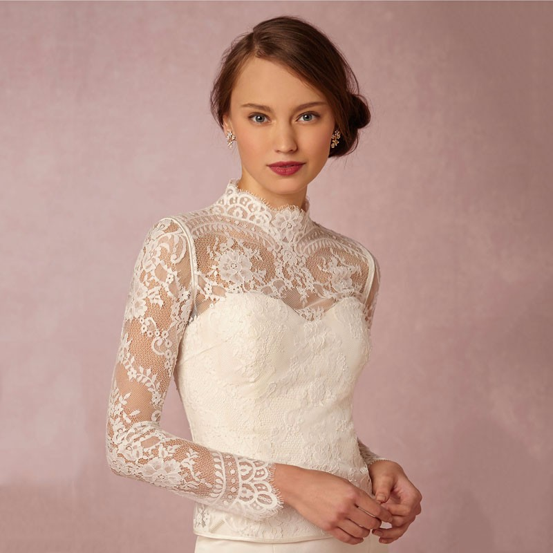 2018 High Neck Lace Long Sleeve Wedding Bridal Jackets Bolero Wedding Wraps In Stock for Summer Spring