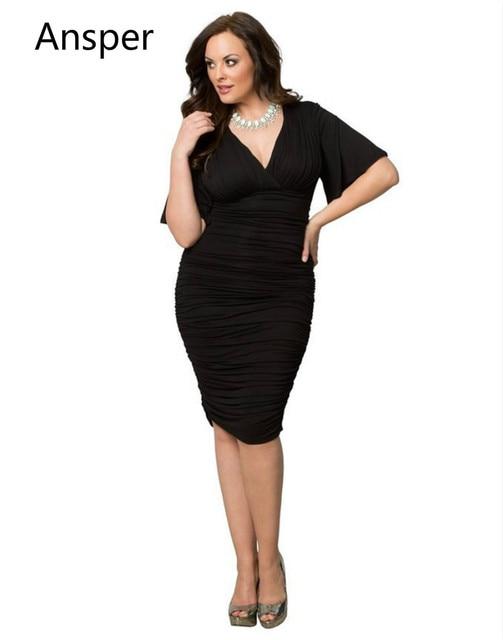 d01281ccf75 Dresses Women s Sexy V Neck Bodycon Dress for fat Vestidos Flare Sleeve  Pleat big Plus Size Party Club Girl graduactionClub