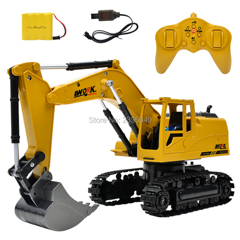 New Remote Control Plastic Excavator Remote Control Constructing Truck Crawler Digger Model Electronic Engineering Truck Toy huina 1510 rc excavator car 2 4g 11ch metal remote control engineering digger truck model electronic heavy machinery toy