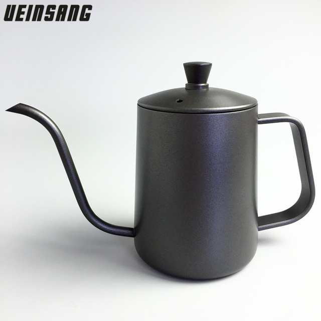Stainless Steel Coffee Drip Kettle 600ml Fine Mouth Pot Teflon Coating Brew Long