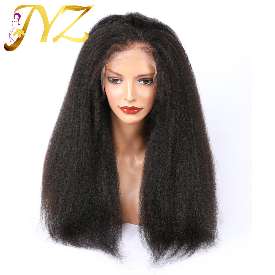 Brazilian Kinky Straight Human Hair Wigs For Black Women Kinky Straight Wigs Lace Front Wig Hairline Pre Plucked Bleached Knots
