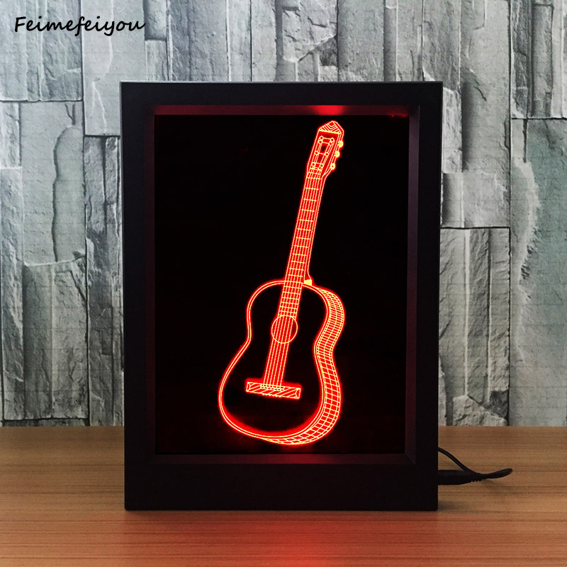 Feimefeiyou 2018 new guitar Style Frame Small 3D Night Light Creative Acrylic Photo Frame With Lamp Decoration holiday lamp gift mipow btl300 creative led light bluetooth aromatherapy flameless candle voice control lamp holiday party decoration gift