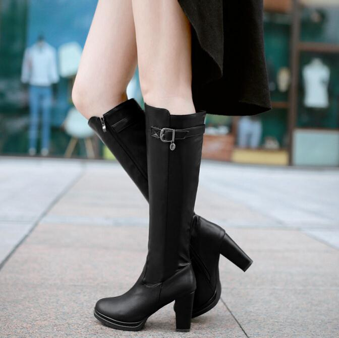 ANMAIRON Size 34-39 Fashion Women Boots High Heels Knee Boots Women Shoes PU Leather Designer Sexy Boots Zipper Knee High Boots