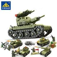 2018 KAZI 84055 627pcs 4in1 Military Army Field Forces Tank Building Blocks Set DIY Bricks Models Toys for children Gift