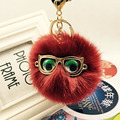 Hot Sale Eyeglass Fur Ball Keychain imitated  Rabbit Fur Pom Pom Plush Key Chain Keyring Men Women Pompom Keychain EH-432