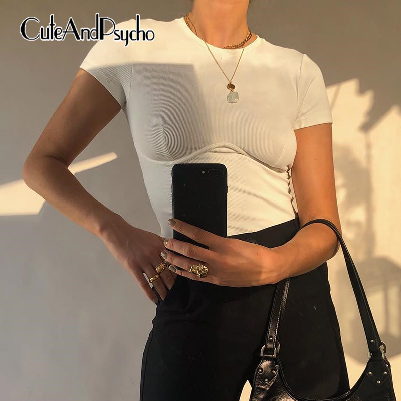 White Solid Basic <font><b>Sexy</b></font> Woman T Shirt Casual Cotton <font><b>Harajuku</b></font> T-shirt Short Sleeve Crop <font><b>Tops</b></font> Summer Streetwear 2019 Cuteandpsycho image