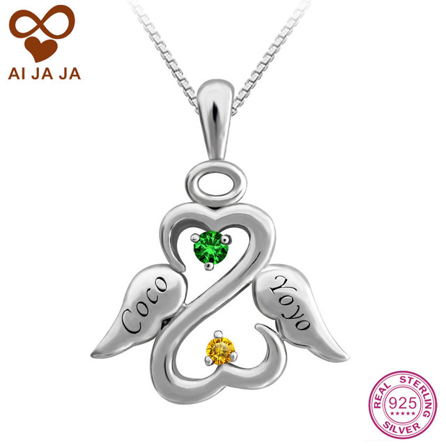 741b12559a AIJAJA Personalized Two Birthstones Names Engraved Angel Necklaces Pendants  925 Sterling Silver Unique Mom Friend Necklace