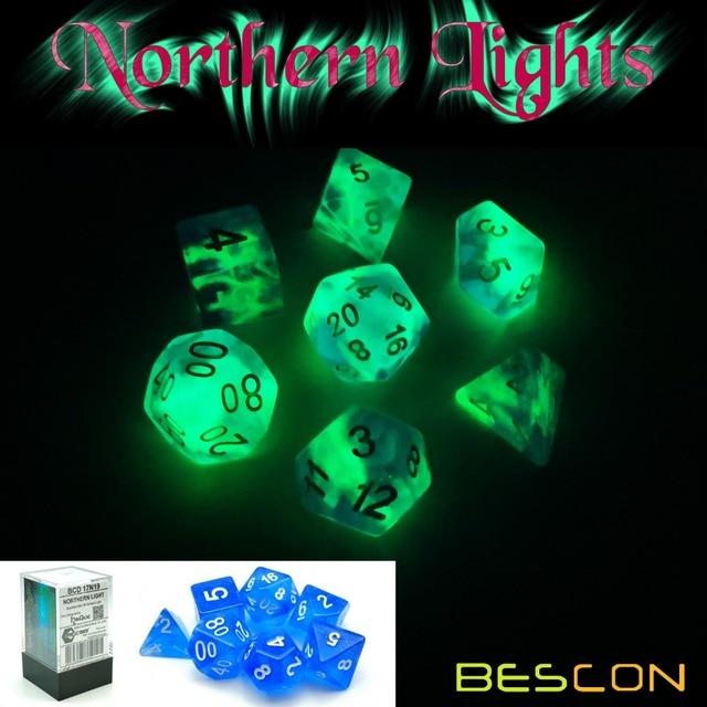 Bescon Super Glow In The Dark Nebula Brilho Dados Poliédricos Definida LUZ DO NORTE, Luminous Dice RPG Set, glowing Novidade Dados DND
