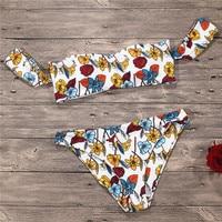 QIANG YI Strapless Sexy Bikini Set Swimwear Women Swimsuit Female Floral Print Push Up Off Shoulder