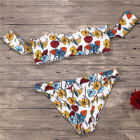 QIANG YI Strapless Sexy Bikini Set Swimwear Women Swimsuit Female Floral Print Push Up Off Shoulder