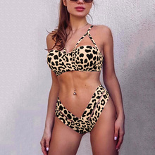 New Leopard High Waist bikini Push Up Swimsuit Female 2019 Women High cut Swimwear Two pieces bikini set Bra cup Bathing Suit