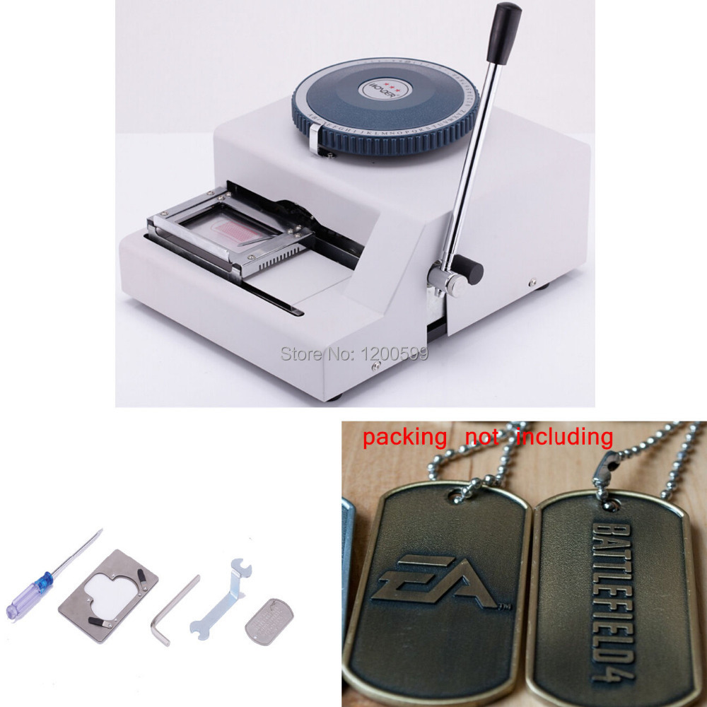 52 Letters Manual Steel Military Dog Tag PVC Card Machine Embosser ...