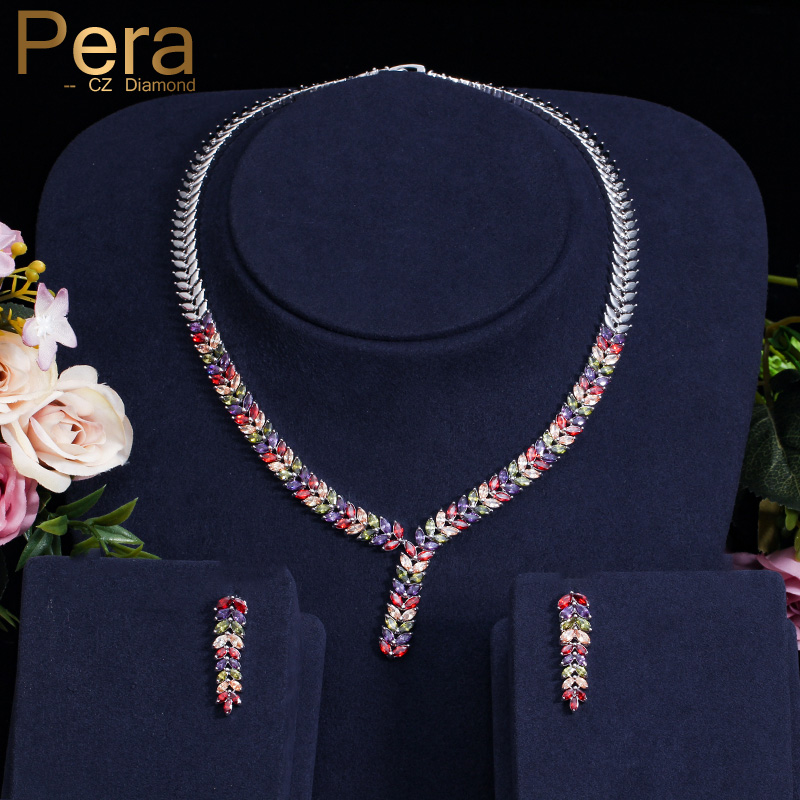 Pera Elegant Nigerian Women Party Costume Jewelry Set Big Colorful Leaf-Shape Long Dropping Necklace And Earrings For Gift J226Pera Elegant Nigerian Women Party Costume Jewelry Set Big Colorful Leaf-Shape Long Dropping Necklace And Earrings For Gift J226