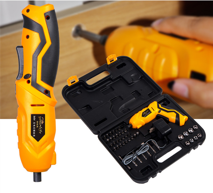 High Quality 45 Pcs Rechargeable Cordless Reversible Electric Screwdriver 4.8v Kit Set
