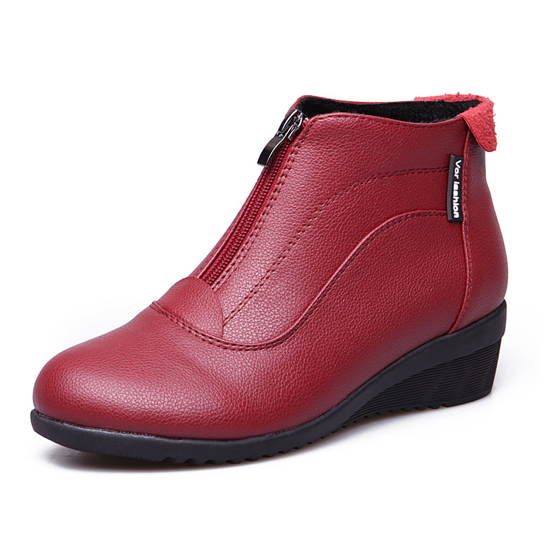 Woman Shoes 2018 Women Boots Wedge Heels Autumn Winter Shoes Female Soft Leather Winter Botas Mujer Causal Ankle Boots For Women цена 2017