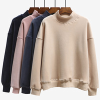 Women Hoodies Sweatshirts New Hot Sale 4 Color Long Sleeved Thick Casual All match Solid Leisure Hooded Hoodie Loose Tops