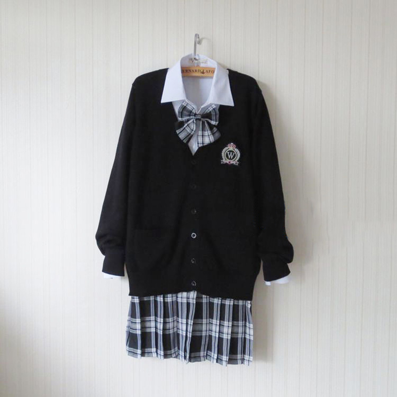 Grande taille Preppy Style noir chandail Cardigan chandail Harajuku japonais école uniforme chandail + chemise + cravate + jupe Cosplay Costume