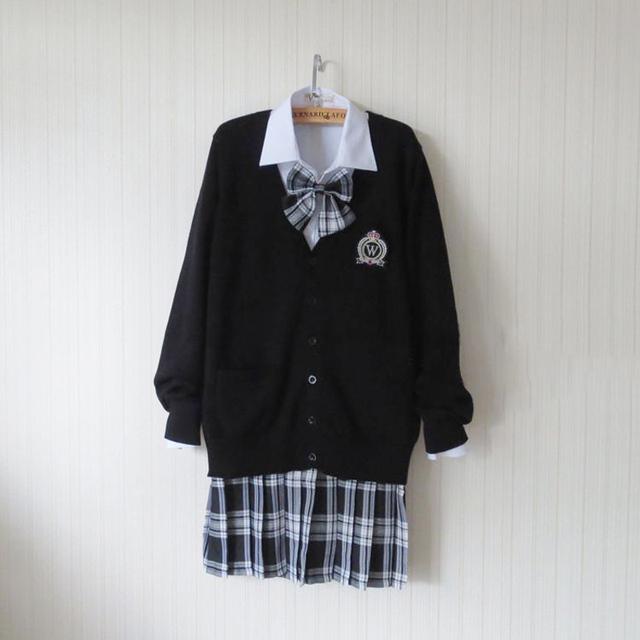 Más el Tamaño Negro Estilo Preppy Suéter Cardigan Harajuku Japonés Uniforme Escolar Suéter + Camisa + Corbata + Falda Cosplay traje