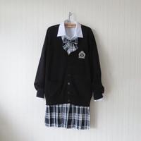 Plus Size Estilo Preppy Preto Camisola Suéter Harajuku Japonês Uniforme Escolar Camisola + Camisa + Gravata + Saia Cosplay traje