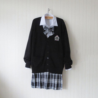 Plus Size Preppy Style Black Sweater Cardigan Sweater Harajuku Japanese School Uniform Sweater+Shirt+Tie+Skirt Cosplay Costume
