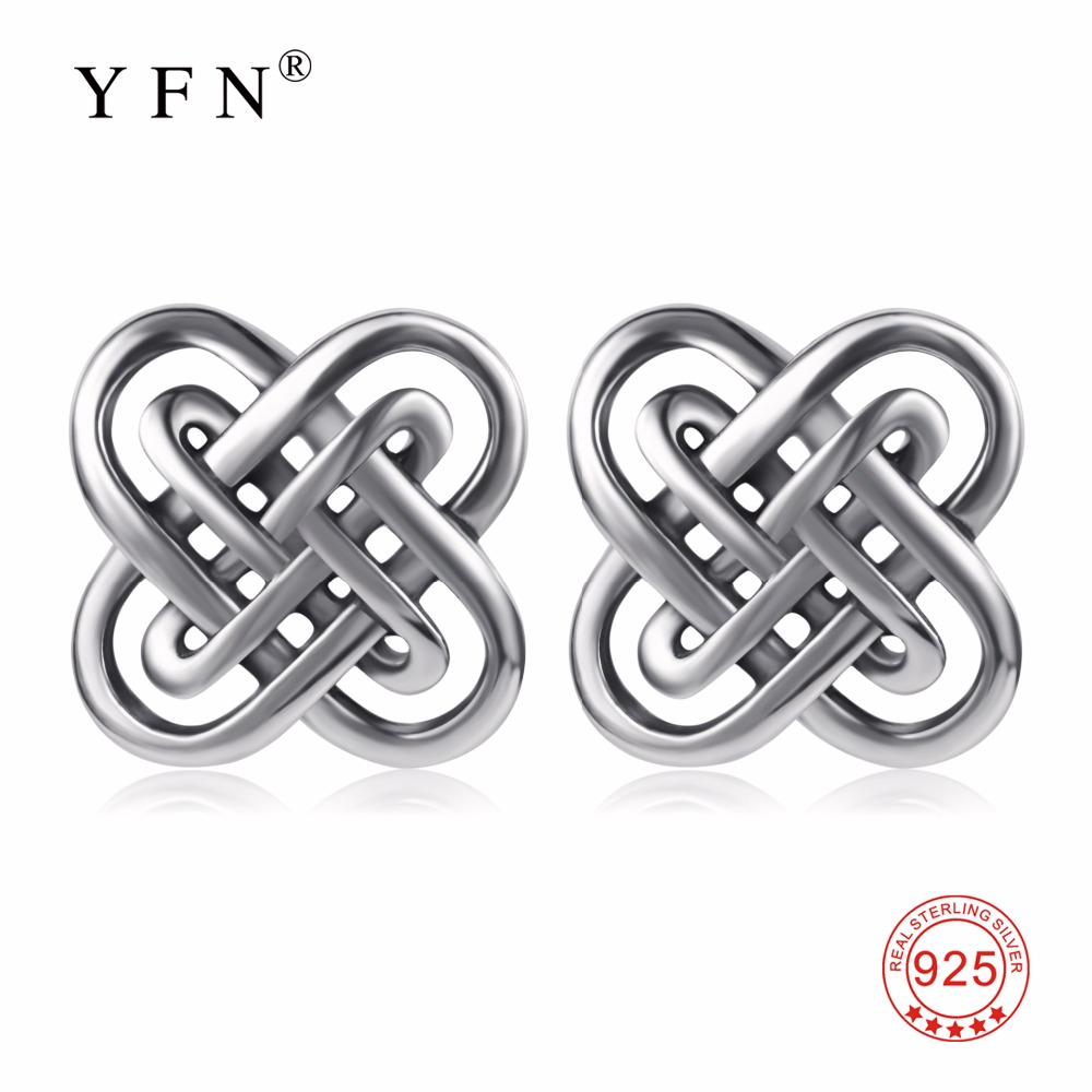 65d0a0aeb Detail Feedback Questions about Earrings 100% Real 925 Sterling Silver  Lucky Knot Vintage Retro Stud Earrings Fashion Sweet Earring Jewelry For  Women ...