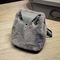 Budalaa Handbags For Women Fur Soft Owl Women Bags 3D Shaped Shoulder Bag High Quality Large