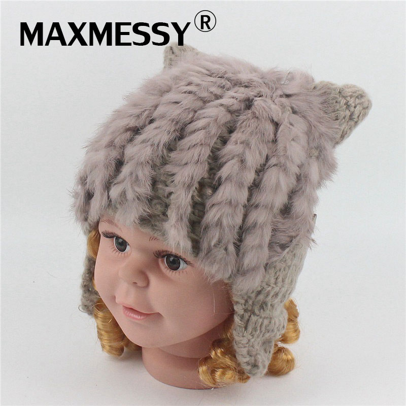 MAXMESSY Children Winter Knitted Hat For Girls Boy Real Rabbit Fur 1-6Y Baby Warm Ear Cute Cat Ear Beanies Cap MH130 baby hat cute the high quality knitting wool hat children winter warm knitted cap girls photography headwear caps