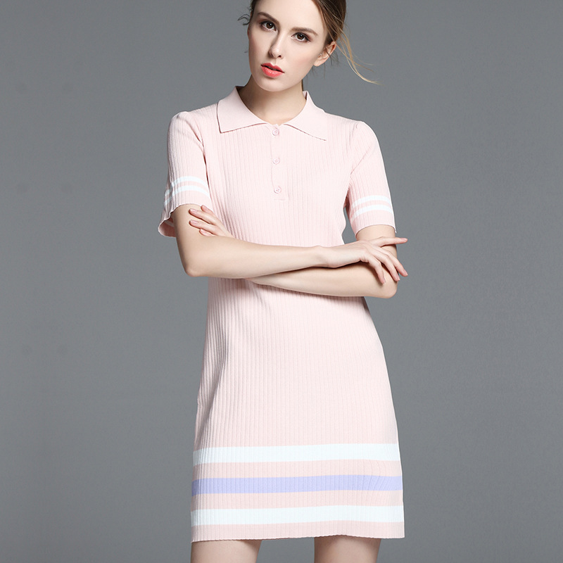 Micosoni 2017 Summer New Thin, Knitting Polo Collar Sweater Dress Summer England Style A-line Striped Regular Pink Blue Dresses