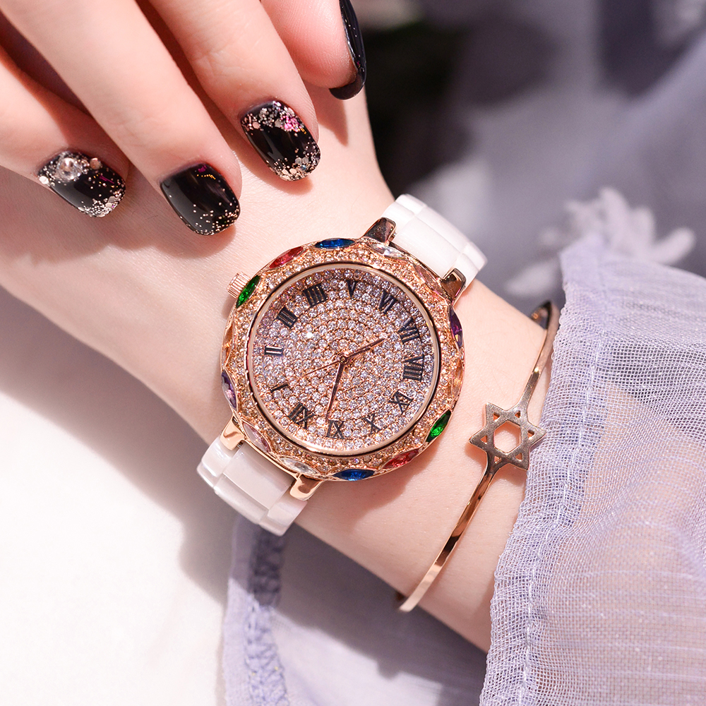 Famous Brand Women Watches Quartz Rose Gold White Ceramic Watch Elegant Rhinestone Fashion Ladies Dress Clock Relogio Feminino купить