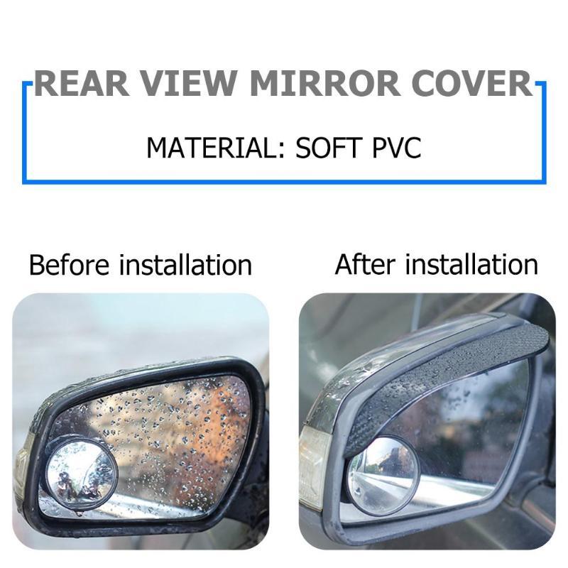 BW#A 2x Carbon Fiber Look Car Side Rear View Mirror Rain Visor Snow Guard Shield